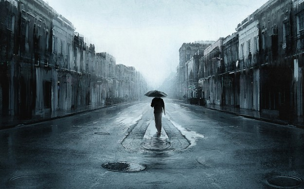 Sad-Man-With-Umbrella-Walking-In-A-Lonely-Street-Digital-Art-Artwork