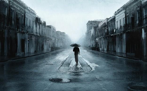 Sad-Man-With-Umbrella-Walking-In-A-Lonely-Street-Digital-Art-Artwork